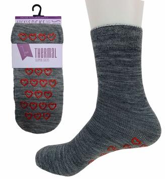 Adam & Eesa 1 Pair Ladies Thermal Slipper Socks in 4 Colours-UK 4-7 EUR 37-41 (Grey UK 4-7 EUR 37-41)