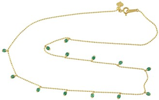 Artisan 18Kt Yellow Gold Emerald Bead Chain Necklace
