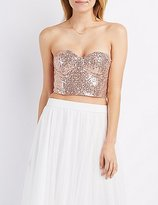Charlotte Russe Sequin Strapless Bustier Crop Top