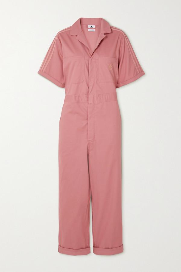 adidas Striped Cotton-twill Jumpsuit