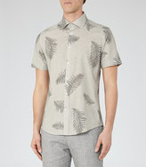 Reiss Feather Printed Short Sleeve Shirt