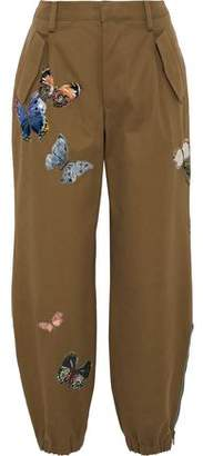Valentino Appliqued Cotton-twill Tapered Pants