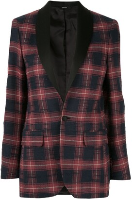 R 13 checked single-breasted blazer