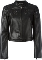 Versace Baroque embroidered cropped jacket - women - Lamb Skin/Polyamide/Spandex/Elastane/Viscose - 42