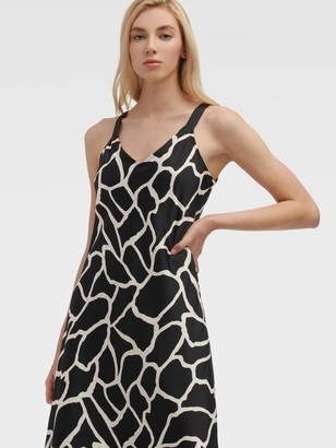 DKNY Women's Printed Camisole Dress - Black French Vanilla Comb - Size XX-Small