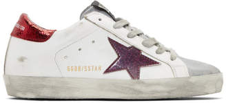 Golden Goose White and Red Sparkle Superstar Sneakers