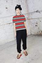 CONTEMPORARY Knitted Crepe Stripe Zip Tee