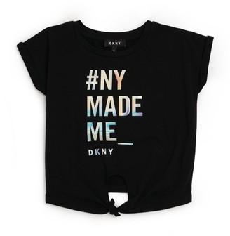 DKNY Slogan Front Knot T-Shirt (6-16 Years)
