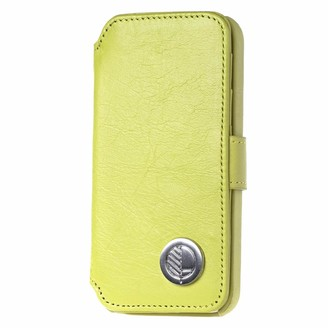 Drew Lennox iPhone SE 5 5S Luxury English Leather Phone Wallet with 3 Card Slots in Lemon Lime Green