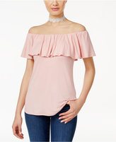 Ultra Flirt Juniors' Three Way Convertible Flounce Ruffled Top