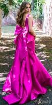Jovani V-Shape Bow Back Trumpet Evening Dress