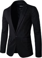 uxcell Allegra K Men Notched Lapel One Button Closed Flap Pockets Casual Blazer M