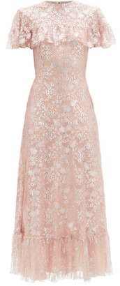 The Vampire's Wife The Bombette Metallic Floral-lace Dress - Light Pink