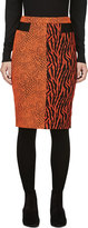 Avelon Red-orange Animal Print Jacquard Skirt