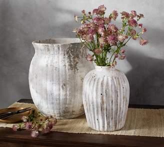 Pottery Barn Weathered White Stone Vases
