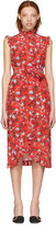 Erdem Red Sebla Convertine Dress