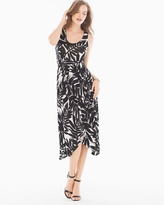 Soma Intimates Faux Wrap Midi Dress Painted Palm Black