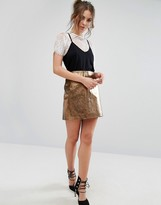 Warehouse Metallic Mini Skirt