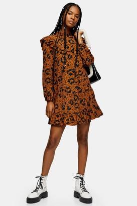 Topshop Womens Mustard Ruffle Yoke Mini Dress - Mustard