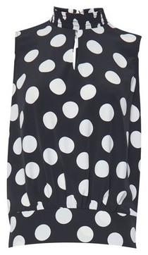 Dorothy Perkins Womens Black Monochrome Spot Print Sleeveless Top, Black