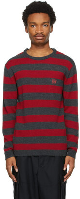Loewe Red and Grey Embroidered Angram Sweater