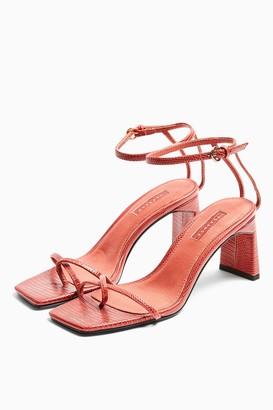 Topshop NATURE Rust Strappy Block Heels
