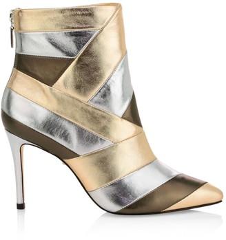Schutz Ida Patchwork Metallic Leather Ankle Boots