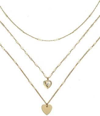 Ettika Gold Chain & Heart Charm Necklace Set - Set of 3