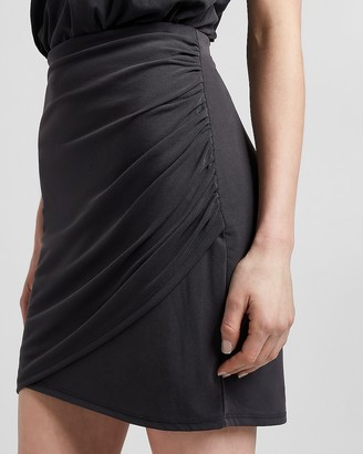 Express High Waisted Silky Sueded Jersey Wrap Mini Skirt