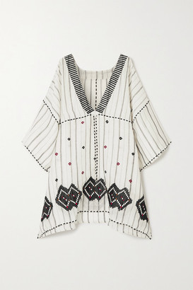 Eres Brigitta Embroidered Striped Linen And Cotton-blend Kaftan - White