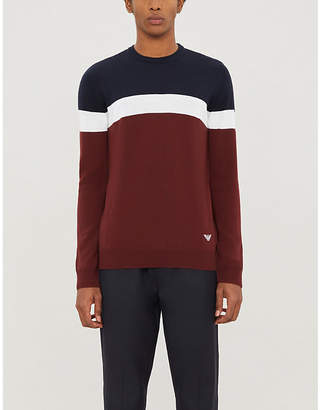 Emporio Armani Colour block crewneck wool-blend jumper
