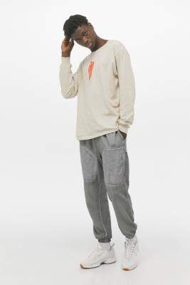 Urban Outfitters Mixed Nylon Skinny Cargo Joggers - grey S at