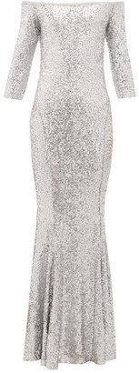 Norma Kamali Mermaid-hem Off-the-shoulder Sequinned Dress - Womens - Silver