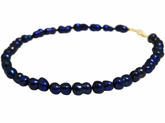 Gemshine Ladies Necklace Sterling Silver or 18k gold plated Baroque Cultured pearls. Tahiti Midnight Blue. Hand Made in Germany Metal Color Silver:Silber vergoldet
