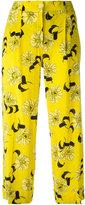 P.A.R.O.S.H. cropped floral print trousers - women - Silk/Elastodiene - S