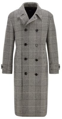 HUGO BOSS Double-breasted coat in a checked wool blend