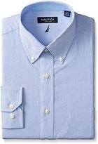 Nautica Men's Long Sleeve Dress Shirt Stripe with Button Down Collar
