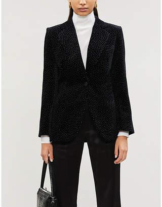 Theory Polka-dot slim-fit cotton and velvet blazer