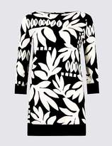 Marks and Spencer Printed Slash Neck Long Sleeve Tunic