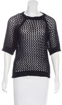 Etoile Isabel Marant Crochet Knit Short Sleeve Top