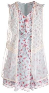 Beautees Big Girls 2-Pc. Lace Vest & Ruffled Floral Dress Set