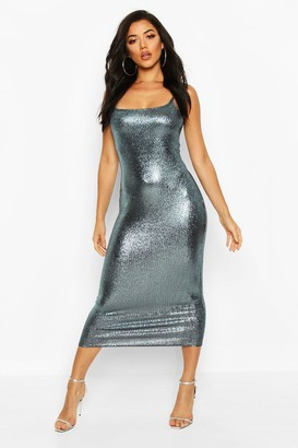 boohoo Foil Print Rib Midi Dress