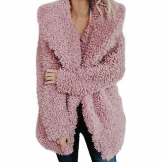 KaloryWee Teddy Bear Jacket Fleece Lapel Coat Oversized Fluffy Outwear Womens Autumn Winter Casual Loose Notch Collar Warm Up Ladies Cardigan Plus Size Outerwear Sale Hooded Jackets Coats Khaki