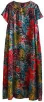 FEIANNA Womens Short Sleeve Summer Vintage Floral Print Patchwork Pastorable Cotton Linen Dress