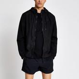 River Island Pastel Tech black nylon hooded jacket
