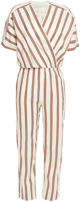 Maje Pieni Wrap-effect Striped Twill Jumpsuit
