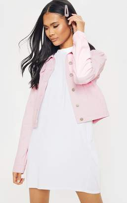 PrettyLittleThing Pink Cord Cropped Denim Jacket