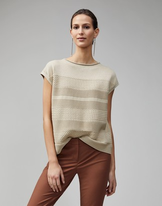 Lafayette 148 New York Cotton Silk Tape Textured Stitch Pullover