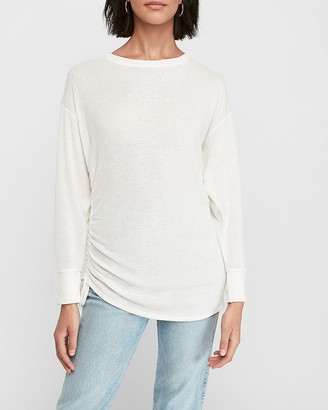 Express Soft Waffle Knit Ruched Side Tie Tee
