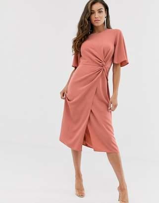 Asos Design DESIGN twist front midi dress with angel sleeve-Pink
